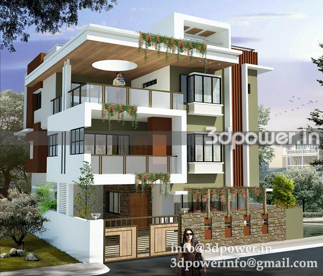 3d image contempary bungalow_bungalow_3d modeling_3d rendering_www ...