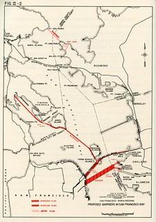 Proposed Barriers in San Francisco Bay: Dennison Plan, Nishkian Plan, Aston Plan (1946)