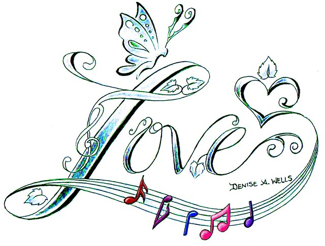 Love song tattoo design by denise a wells flickr for Love design