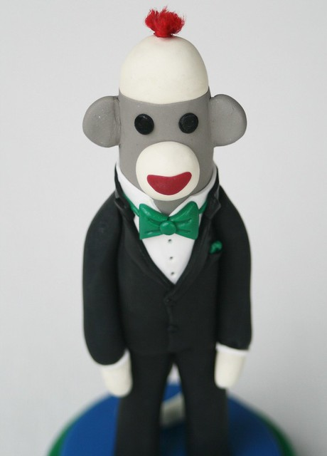 groom close up Groom in a Tux Sock Monkey Wedding Cake Topper