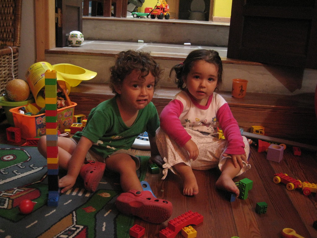 Camilo and Lucia (friend) hanging out in the playroom
