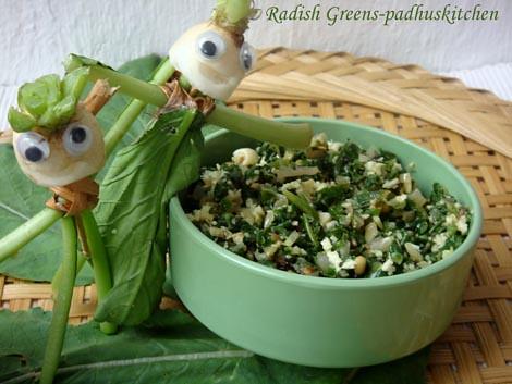 Radish greens stir fry