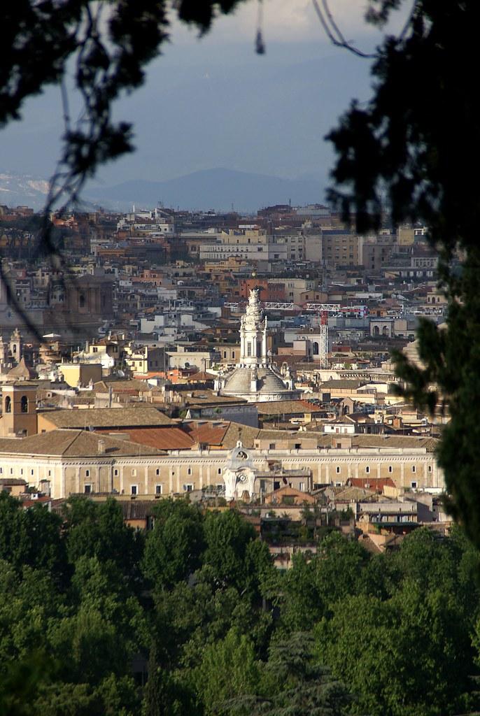 Rom, Gianicolo, Aussicht über das historische Zentrum und Sant'Ivo alla Sapienza (overlooking the historical center and St. Yves al La Sapienza)