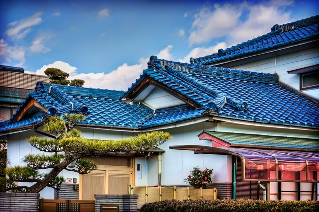 Blue Roofed Japanese House Flickr Photo Sharing