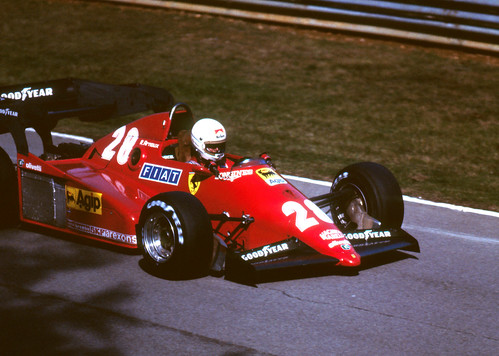 René Arnoux Qualifying the Ferrari in the European GP at Brands Hatch 1983