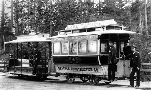 Grip car and trailer car of cable street railway, Seattle