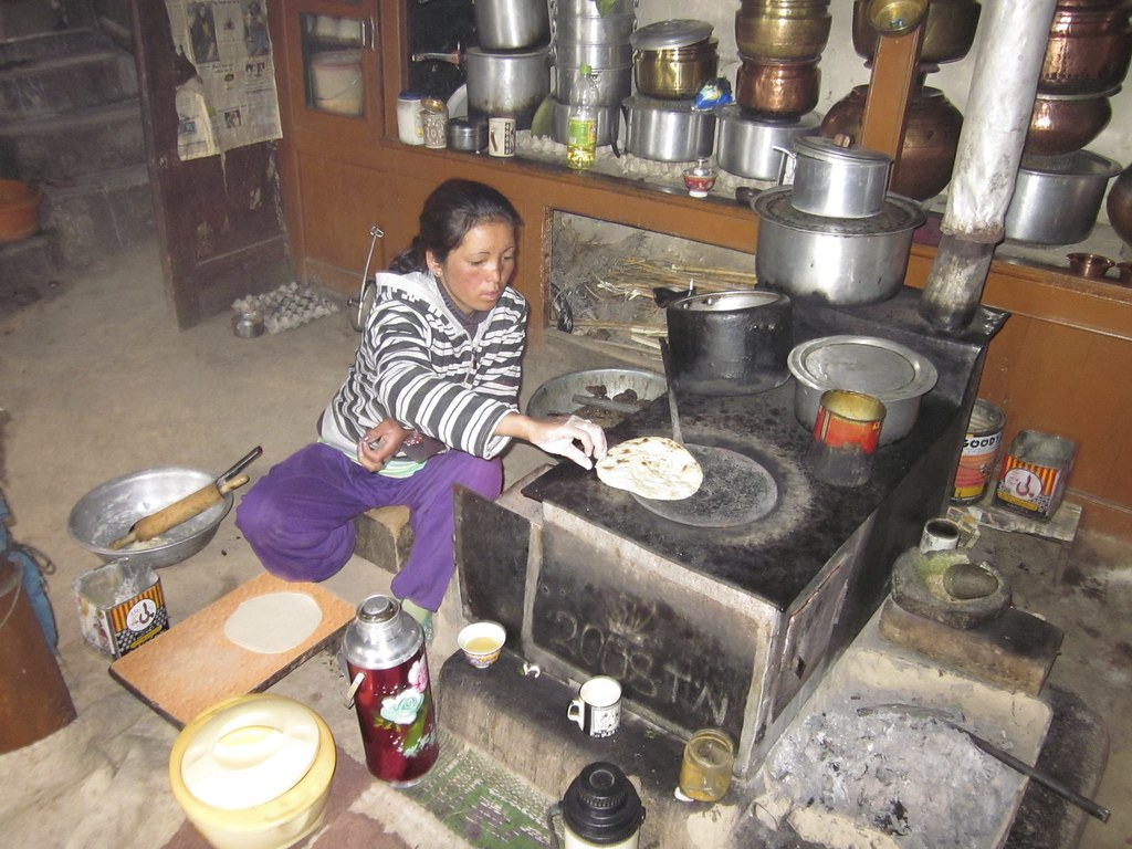 Making breakfast in Ulley Village, India