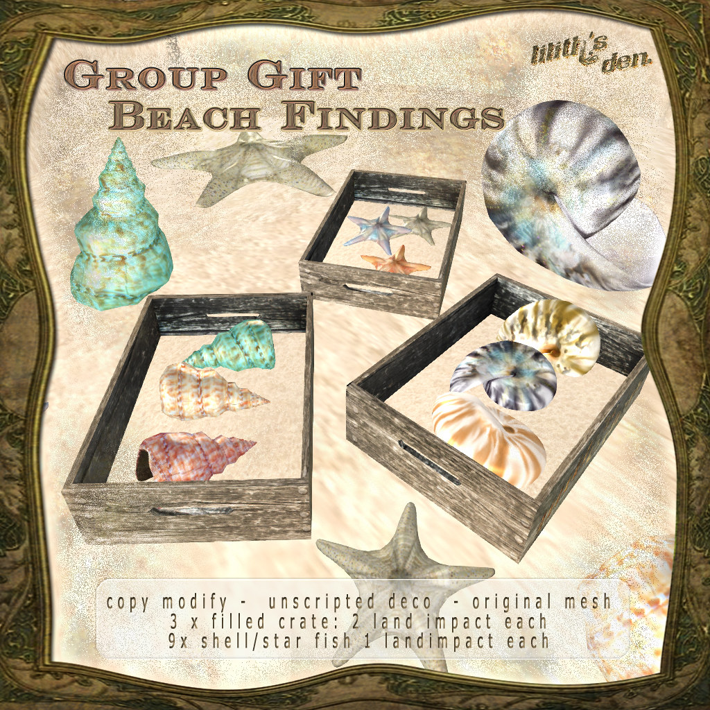 Lilith's Den group gift July 17 - Beach Findings - SecondLifeHub.com