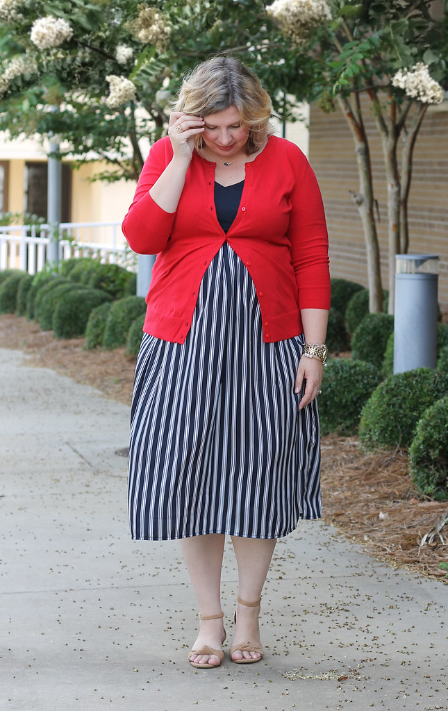 maternity blue stripe dress and red cardigan 5