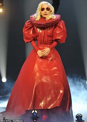 Lady Gaga Elizabethan red latex dress by Abiola's Photo Diary