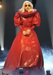Lady Gaga Elizabethan red latex dress by Abiola's Photo Diary