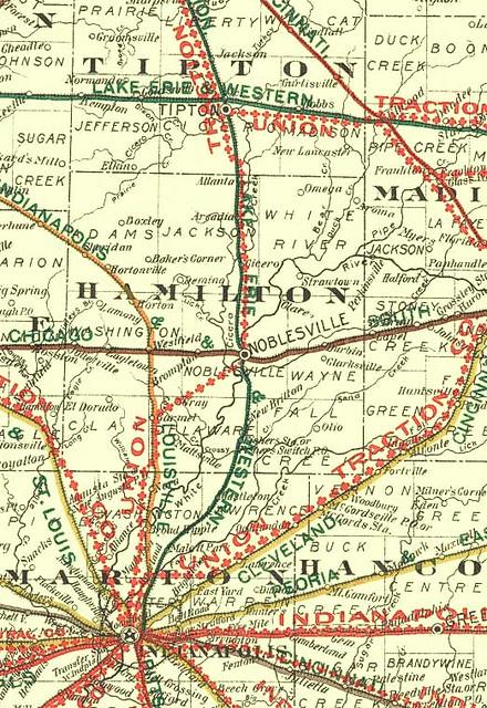 Indiana Interurban And Railroad Map C1906 Noblesville