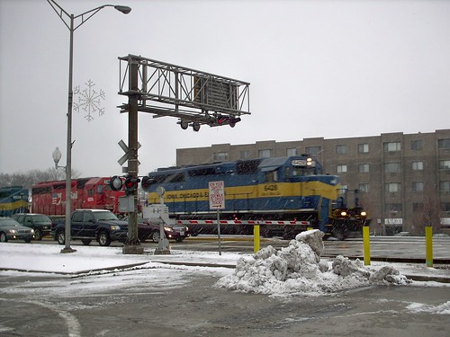 Westbound Iowa, Chicago & Eastern freight train crossing Grand Avenue. Elmwood Park Illinois. December 2007. by Eddie from Chicago