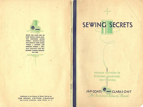 Free 1930's Sewing booklet J&P Coats Sewing Secrets