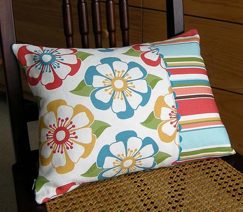 Floral/Stripe organic canvas accent pillow