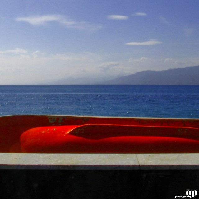 Winter Beach - Red Boat at Rest