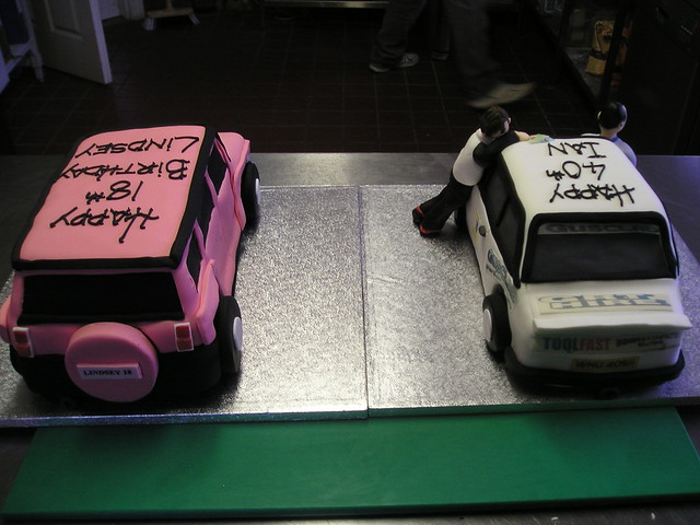 Pink Hummer and Rally car cakes