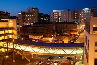 The night view of UNC Hospitals