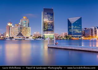 United Arab Emirates - UAE - Dubai - Dubai Creek with Sheraton Dubai Creek, National Bank of Dubai (Middle) and Chamber of Commerce at Dusk - Twilight - Blue Hour