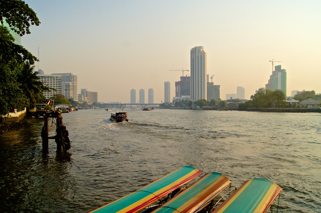 Evening on the Chao Phraya river in Bangkok, Thailand