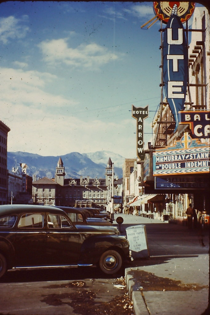 Colorado Springs c. 1944 showing Antlers Hotel and movie marquee (Fred MacMurray and Barbara Stanwyck in Double Indemnity) - RA Casas Color Slide from Grand Canyon trip