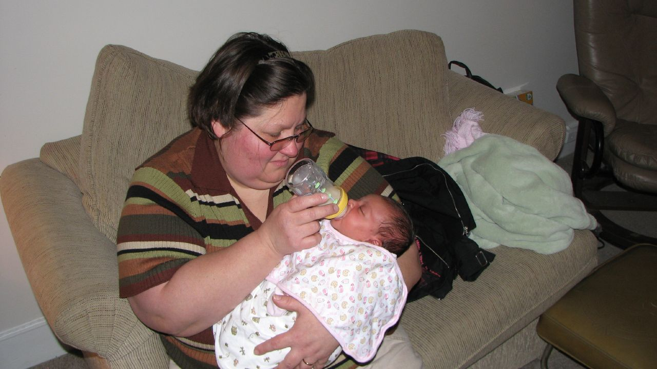 Just under a month old Shayla and Grandma