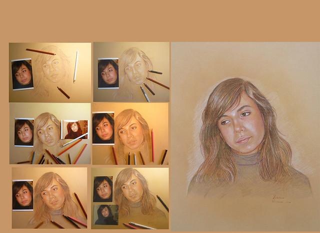 fase della realizzazione di un ritratto da foto