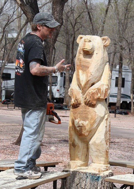 Chainsaw tree stump carving bear garden of the gods