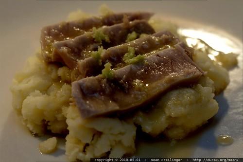 seared ahi and wasabi vinaigrette over wasabi mashed potatoes