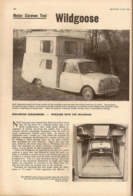 Austin Mini Van Wildgoose camper van Road Test 1964 (1)