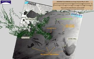 Deepwater Horizon Oil Spill – RADARSAT-2 (with interpretation), May 8, 2010