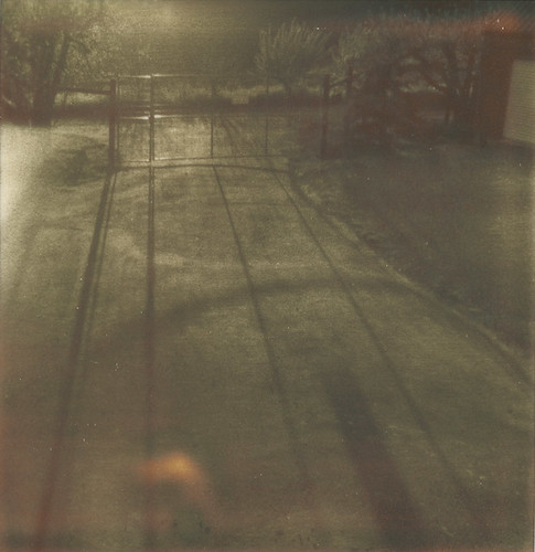 sunlight film polaroid sx70 gate afternoon driveway sebastopol px100 furlong theimpossibleproject