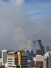Black smoke in center of Bangkok