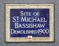 Photo of St Michael Bassishaw blue plaque
