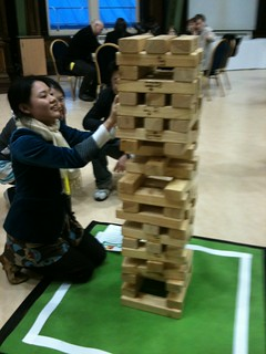 A game of Giant Jenga got very tense at Discovery Museum