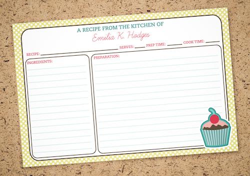 Printable, personalized recipe cards at saltandpaper.com