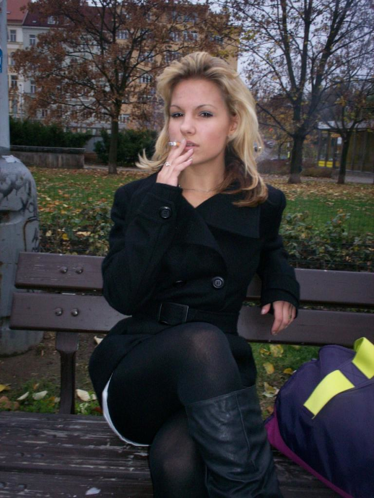Tights sexy smoker