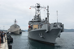 USNS Salvor (T-ARS 52) and USS Coronado (LCS 4) arrive at Cam Ranh International Port, July 5. (U.S. Navy/MC2 Joshua Fulton)