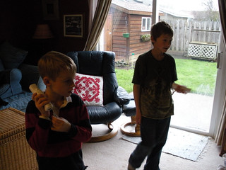 Noah and Alex playing WII