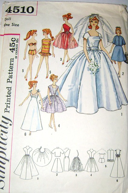 Vintage 1960s Barbie Doll Wedding Dress and Trousseau Pattern from