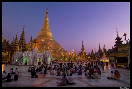 Blue hour prayer at Shwedagon Paya