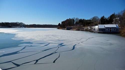 Ninigret Pond,  as the ice begins to thaw by Rick Payette via I {heart} Rhody