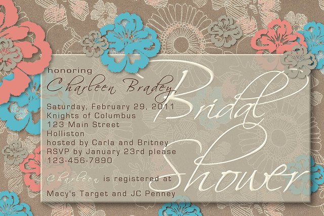 wedding shower invitations floral flowers brown blue beige taupe tiffany