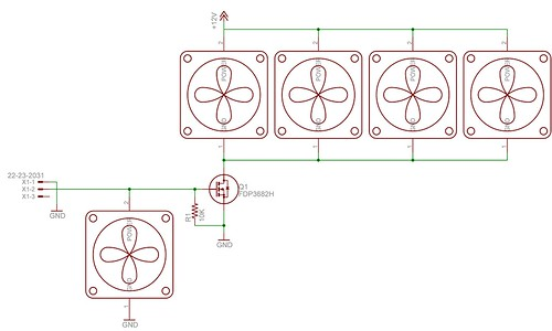Electronic Schematic for Multi-Fan Hookup