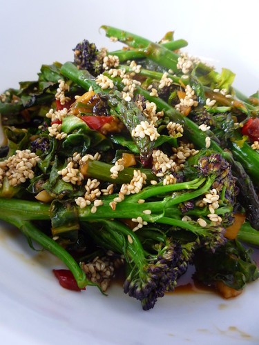 Soy Spring Greens – Purple Sprouting Broccoli , Asparagus and Spring Greens
