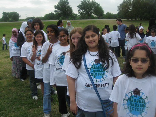 Manara students decked out in their Buddy Bison Earth Day tshirts