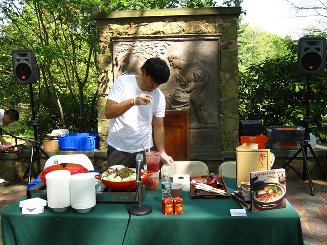 Matsuri restaurant's chef Tadashi Ono gives a demonstration of Japanese hot-pot cooking in the Alfred T. White Memorial. Photo by Rebecca Bullene.