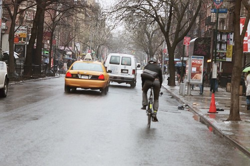 rain and bicycles in new york