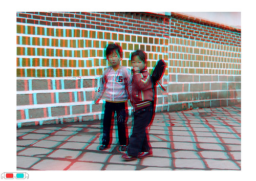 3D picture - Time to go to school in Kaesong North Korea