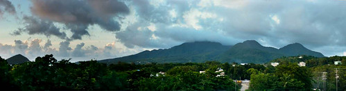 sunset panorama mountains clouds caribbean dominica caribbeansea